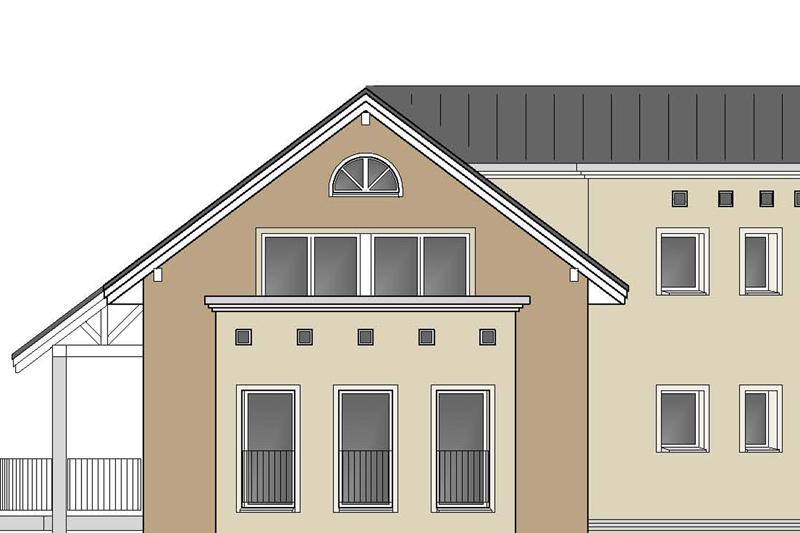 Fassade mit zwei Farben